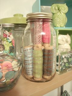 jars of buttons & ribbons