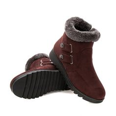 Designer Buckle Button Ankle Suede Fur Lining Flat Snow Boots - NewChic