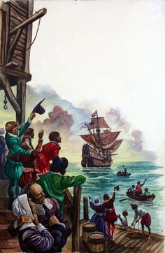 On this day September 1620 149 pilgrims set sail on The Mayflower for the new world. The Pilgrim Fathers (Original) art by Peter Jackson British History, American History, Pilgrim Fathers, Independance Day, Vintage Thanksgiving, Gouache Painting, May Flowers, Illustration Artists, Early American