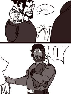 No matter what you ship, you know that McCree would have that shirt. Overwatch Comic, Overwatch Memes, Overwatch Fan Art, Fanart Overwatch, Gay, Game Character, Video Games, Anime, Fandoms