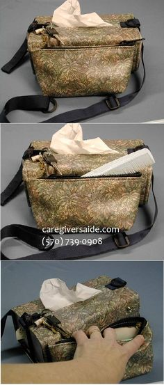 "Style 3 FLORAL Detachable zippered pouch for storing change, glasses, etc. Adjusts to hold tissue boxes 3-4"" deep.Adjustable strap 35"" to 53"", Comes with D ring and snap ring to carry keys Velcro closures Washable vinyl surface Wrap around arms of wheelchair, Wrap around baby stroller Wrap around car seat Wrap around waist while walking or sitting in wheelchair. Add Soiled Tissue Holder to complete package. $38.99"
