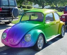 vw beetle. So cute! Very nice paint job, fits the cars style!