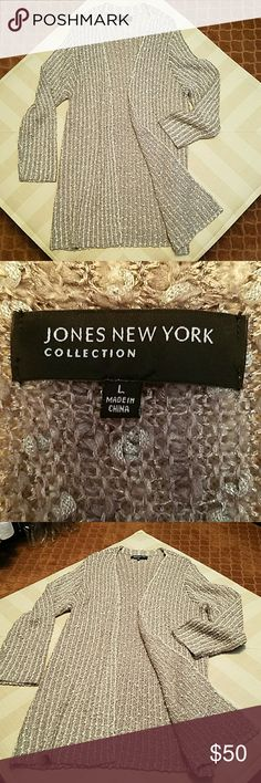 JONES  NEW YORK COLLECTION CARDIGAN JONES NEW YORK COLLECTION  LONG SLEEVE CARDIGAN  NEVER WORN/BUT I TOOK THE TAGS OFF! SIZE LARGE  MATERIAL 34%RAYON 27%NYLON 17% ACRYLIC  10%POLYESTER  6% METALLIC  5 % WOOL 1% MOHAIR! IT'S ABSOLUTELY BEAUTIFUL:):):) JONES NEW YORK COLLECTION  Sweaters Cardigans