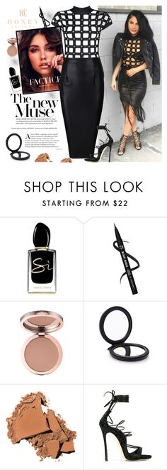 """""""Honey Couture"""" by gaby-mil ❤ liked on Polyvore featuring Giorgio Armani, Cedes, Bobbi Brown Cosmetics, Dsquared2 and honeycouture"""