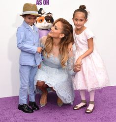Jennifer Lopez had the sweetest plus ones for the premiere of her new animated movie Home on Sunday. The actress was joined by her seven-year-old twins Max and Emme,