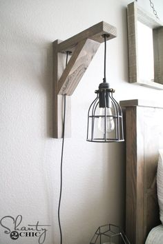 Build this DIY Rustic Corbel Light Sconce for 25 Creative bedroom lamp but perfect for so many spots in your home Free plans at Bedroom Lamps, Bedroom Lighting, Home Decor Bedroom, Diy Home Decor, Bedroom Rustic, Bedroom Decor, Rustic Room, Bedroom Ideas, Bedroom Wall Lights