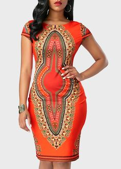 Dashiki Print Cutout Back Cap Sleeve Dress on sale only US$34.90 now, buy cheap Dashiki Print Cutout Back Cap Sleeve Dress at liligal.com