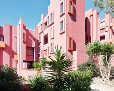 La Muralla Roja is an apartment complex set on the rocks in the coastal town of Calpe, Spain. it was designed by Ricardo Bofill and built in 1973
