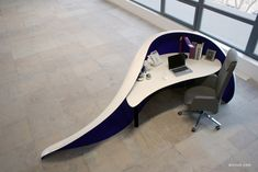 organic shaped reception desk   PRESENTED as a front desk at fairs, Office & Facility 2011.