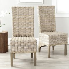 Safavieh Rural Woven Dining Pembrooke Unfinished Natural Wicker Dining  Chairs (Set Of 2) By Safavieh