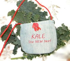 Hand made OOAK recycled denim bag 'Kale the NEW by SarahYsCottage, $10.00