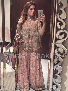Amna Kasuri wearing an outfit from Saira Shakira collection Pakistan Pakistani Party Wear Dresses, Pakistani Wedding Outfits, Indian Dresses, Couture Dresses, Bridal Dresses, Fashion Dresses, Dulhan Dress, Saree Dress, Pakistani Couture