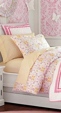Butterfly Damask #girls #bedding