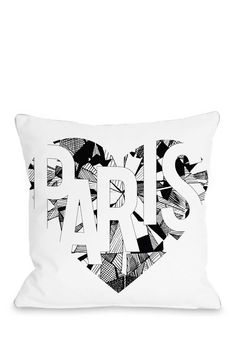 I Love Paris Pillow - White/Black on @HauteLook