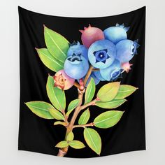 Wild Maine Blueberries Wall Tapestry - watercolour illustration by Maine artist #PatriciaSheaDesigns