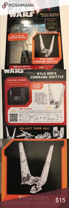 Star Wars Kylo Ren's Command Shuttle model kit Original Star Wars Metal Earth 3D Metal Model Kit- Kylo Ren's Command Shuttle. Perfect gifts for kids 14+ no special tools required for assembly! Brand new! Disney Other