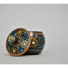 Russian Folk Art Box Pottery Jar Hand Painted Box Black Floral Box Ceramic Jar with Lid Decorative Storage Stash Box Shabby Chic lidded Jar  #vintage #vintagedecor #homedecor #homeaccents