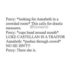 yasss! I lowkey she Lannabeth but like Percabeth is hella number one