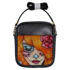 "Womens Day of the Dead Sling  Bag  "" Tangerine"" Purse Sugar Skulls Tattoo Art   Dia De Lo Muertos Lowbrow Cute on Etsy, $40.00"
