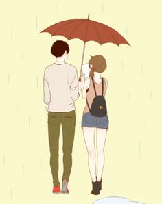 Episode 1, It was raining outside, boy was reading a book at home when girl begging the boy to hang out. Finally they went out with an umbrella