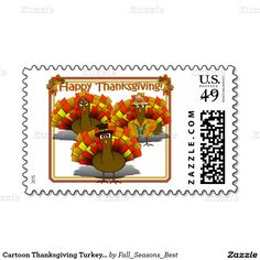 Cartoon Thanksgiving Turkey Trio Stamps  #FallSeasonsBest #ThanksgivingPostage #Zazzle #Gravityx9 Designs