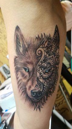Half wolf half mandala tattoo realism love my new tattoo!