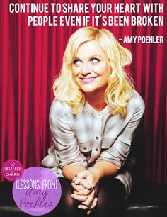 "Quotes and inspiration from Celebrity QUOTATION – Image : As the quote says – Description ""Continue to share your heart with people even if it's been broken."" – Amy Poehler I wish I could be as positive as Amy Poehler Sharing is everything – We,. Pretty Words, Beautiful Words, Cool Words, Beautiful People, Beautiful Things, Amy Poehler Quotes, Great Quotes, Inspirational Quotes, Amazing Quotes"