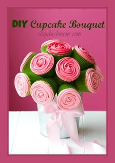 Cupcake bouquet by RuthBlack. Bouquet of rose cupcakes tied with a ribbon Mothers Day Cupcakes, Valentine Day Cupcakes, Valentines, Cupcakes Bonitos, Green Cupcakes, Flower Cupcakes, Cupcake Boquet, Cupcake Rose, Cupcake Cakes