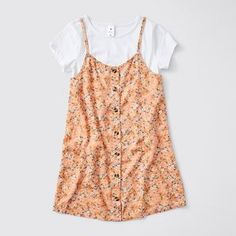 This 2 piece dress and t-shirt set screams fashionista. Featuring an all over floral linen blend dress with full button down front and a plain t-shirt crafted from cotton for all day comfort. Kids Girls, Summer Dresses, Orange, Chloe, Target, Cotton, Australia, Shirts, Birthday