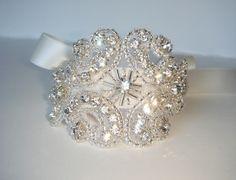 Isabella Bridal Cuff Bracelet Rhinestone Cuff Cuff by Luciabella1, $32.00