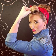 """Rosie the Riveter Halloween Costume """"WE CAN DO IT""""…. Easiest costume when you're in a pinch: denim shirt, denim jeans. Rosie The Riveter Halloween Costume, Halloween Diy, Halloween Costumes, Easy Costumes, 1950s Costumes, Costume Ideas, Ear Hair Trimmer, Homecoming Week, Floating Head"""