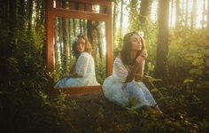 Photo wallpaper look, mirror, reflection, forest, girl