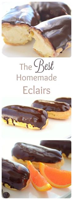 Looking for chocolate dessert recipes? This is the best HOMEMADE eclair recipe. These chocolate eclairs are absolutely mouthwatering. You won't be able to stop eating this decadent dessert. French Eclairs are definitely a melt in your mouth delight. Desserts Keto, Brownie Desserts, Desserts For A Crowd, Classic Desserts, Easy Desserts, French Dessert Recipes, French Recipes, Plated Desserts, How To Make Desserts