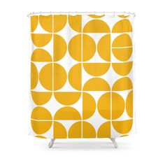 Mid Century Modern Geometric 04 Yellow Shower Curtain by The Old Art Studio - by Vintage Shower Curtains, Yellow Shower Curtains, Modern Shower Curtains, Bathroom Curtains, Color Poem, Modern Master Bathroom, Old Art, Mid-century Modern, Old Things
