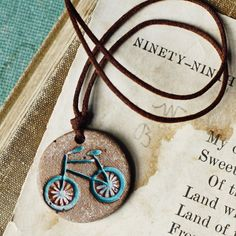 Bicycle+necklace+handmade+ceramic+bicycle+pendant+by+kylieparry