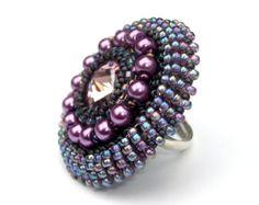 Anello in rilievo rosa oro cristallo Swarovski anello