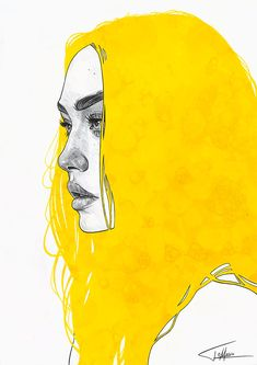 Portrait Drawing Mixed-Media Illustrations by Tomasz Mro – Inspiration Grid Art And Illustration, Illustrations, Portrait Illustration, Yellow Art, Mellow Yellow, Yellow Painting, Art Sketches, Art Drawings, Inspiration Artistique