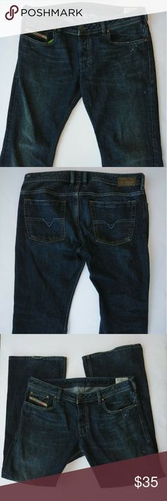 Men's Diesel Zathan Jeans 36 x 31 Quality made men's Diesel jeans. The style is Zathan and they are a factory faded and factory distressed dark wash.  Size 36 x 31. Note: tag reads inseam is 30'' but I measured 31'' so that the length I indicated.  Good pre-owned condition with no stains or holes.  Accepting reasonable offers.  Item # 451 (for my reference). Diesel Jeans Bootcut