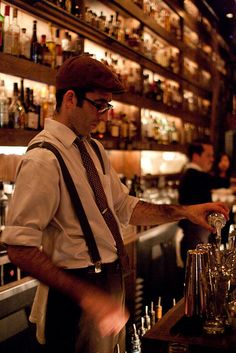 bartender in suspenders