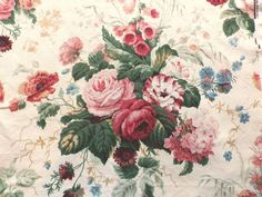 Unused Vintage Sanderson Linen Union Fabric 'Stapleton Park' Old Roses in Collectables, Sewing/ Fabric/ Textiles, Fabric/ Textiles | eBay