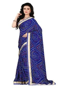 8f39d3476d Casual Wear Bandhani Saree Golden Lace Georgette Sarees