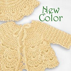 Crochet baby sweater in a soft wool blend yarn in by PinkyRoo, $33.00