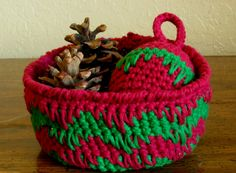 Colors Of The Season; Gift Guide 3 of #Handmade and #Vintage by @butterflysattic - Thank You for including my Red and Green Handmade Crochet Basket - @rssdesignsfiber - RSS Designs In Fiber