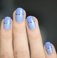 13. Don't be afraid to pair color with a design. This minimal metallic horizontal line adds an interesting detail to an otherwise pretty boring periwinkle.