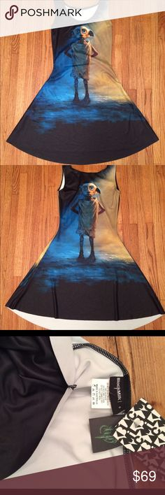 Harry Potter M Dobby Play dress Black Milk museum Harry Potter Dobby Play dress Black Milk museum NWT. Label is cut because they were purchased at sample sale. 69 OBO no trades. Blackmilk Dresses Midi