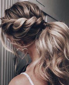 twisted french braid into ponytail | long blonde balayage hair | romantic curls hair ideas | open heart earrings