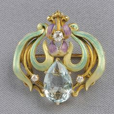 Art Nouveau Gold, Aquamarine, Enamel, and Diamond Watch Pin, the enamel iris with faceted pear-shape aquamarine and old mine-cut d Bijoux Art Nouveau, Art Nouveau Jewelry, Jewelry Art, Antique Jewelry, Vintage Jewelry, Fine Jewelry, Jewelry Design, Gold Jewelry, Belle Epoque