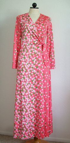"The Whitney Shop Vintage Pink Floral Wrap Around Look Floral Hostess Gown- 8, $45.00 I don't know about a ""hostess gown"" but it sure would be better than natty sweats for morning coffee on the porch."