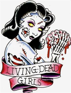 B-Movie Zombie Pin-Up....I like this style but no ribbon and continue to a full pinup.