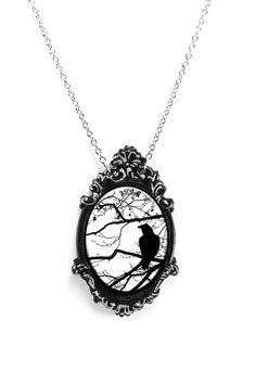 Hey, I found this really awesome Etsy listing at https://www.etsy.com/listing/213491936/black-white-raven-and-tree-cameo